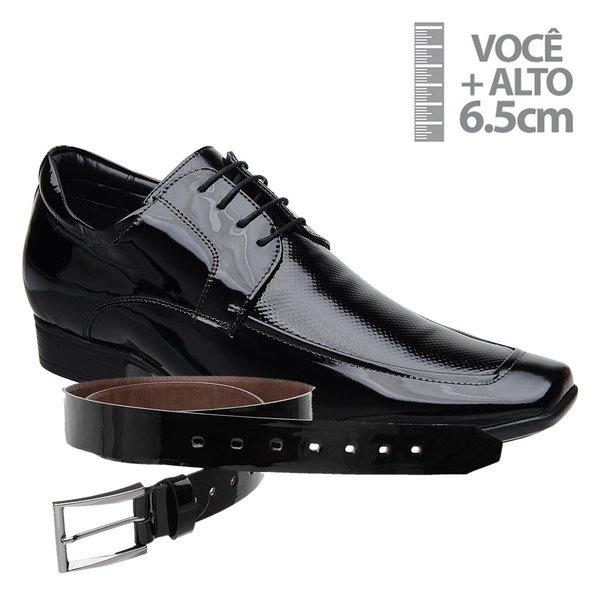 Sapato com Salto Interno Jota Pe Preto Air + Cinto de Verniz Preto