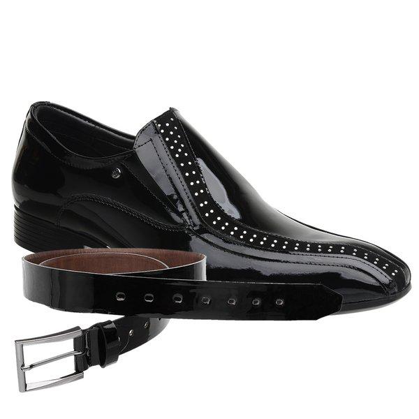 Sapato Social Jota Pe Verniz Preto New Man + Cinto envernizado