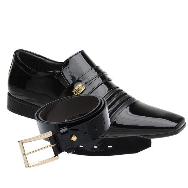 Sapato Social Jota Pe Verniz Preto Boss Gold + Cinto envernizado