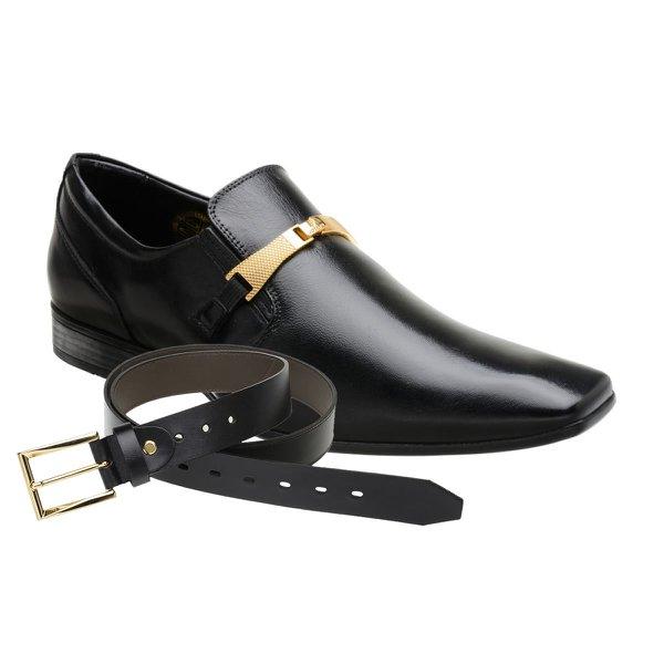 Sapato Social Jota Pe Preto Boss Gold + Cinto de Couro