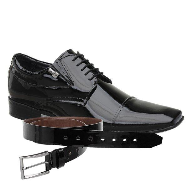 Sapato Jota Pe Verniz Preto Air Manhattan + Cinto envernizado