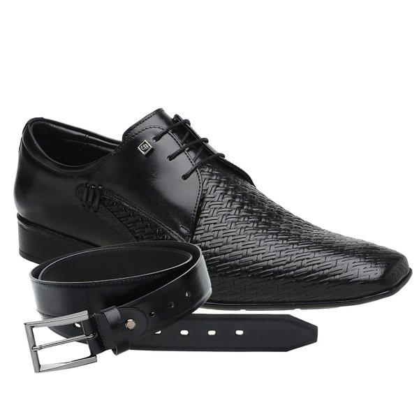 Sapato Social Jota Pe Preto Air Manhattan + Cinto de Couro