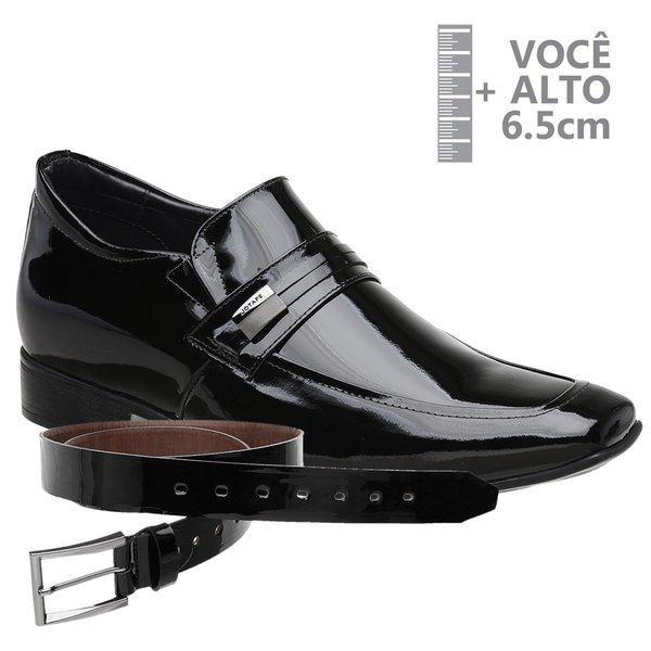 Sapato com Salto Interno Jota Pe Preto Verniz Air Bridge + Cinto Envernizado