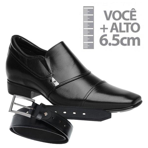 Sapato com Salto Interno Jota Pe Preto Grow Air + Cinto de Couro