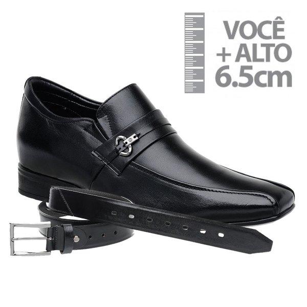 Sapato com Salto Interno Jota Pe Preto Grow Air+Cinto de Couro