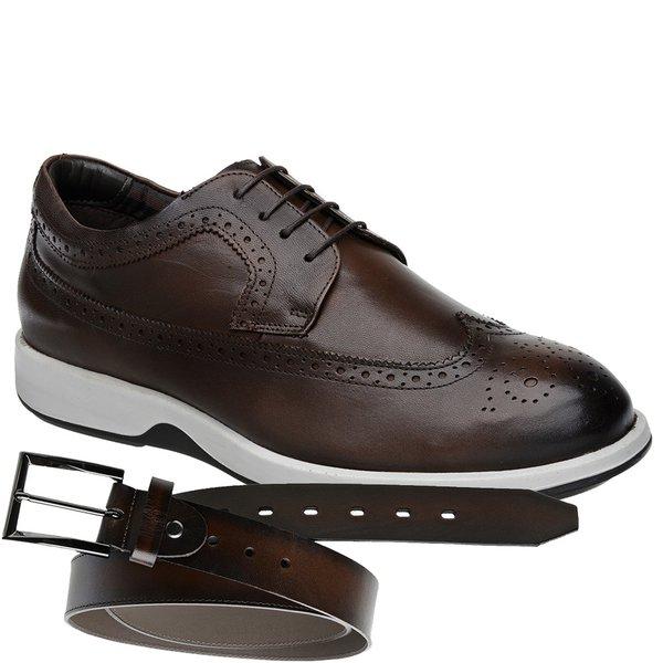 Sapato Casual Oxford Jota Pe Marrom Air Kingston + Cinto de Couro