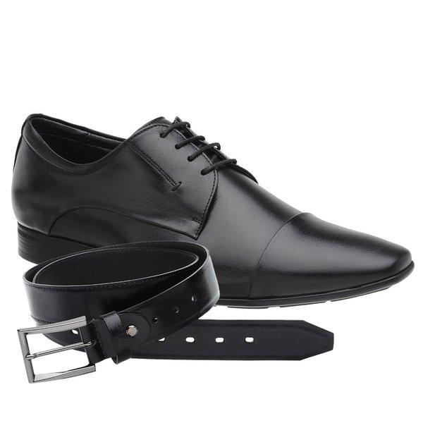 Sapato Jota Pe Preto Air Trissot + Cinto de Couro