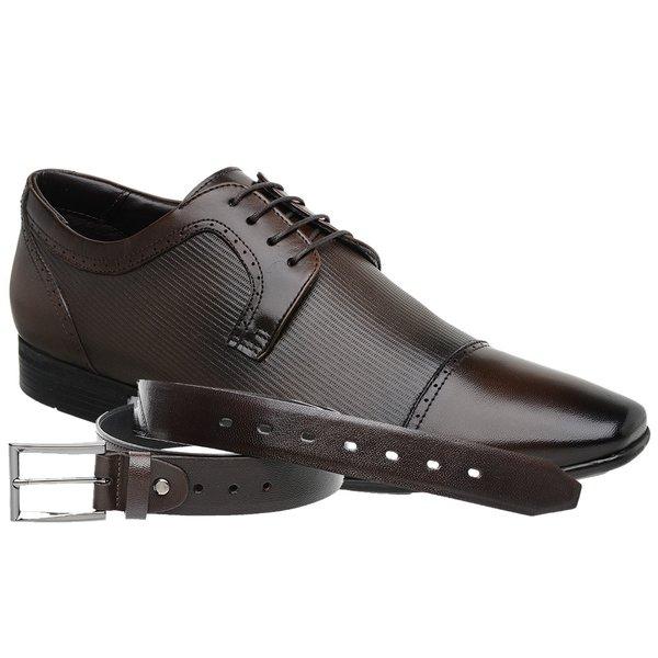 Sapato Jota Pe Marrom Air Tissot + Cinto de Couro