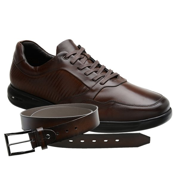 Sapato Jota Pe 3D Marrom Total Air + Cinto Tamanho Grande
