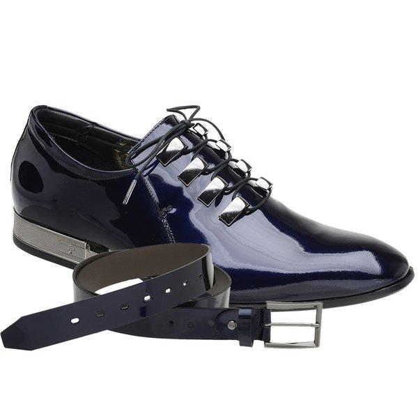 Sapato Social Jota Pe Verniz Blue Ducalle Onix + Cinto Envernizado