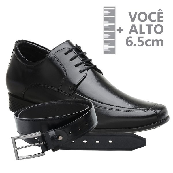 Sapato com Salto Interno Jota Pe Preto Grow Air King + Cinto de Couro