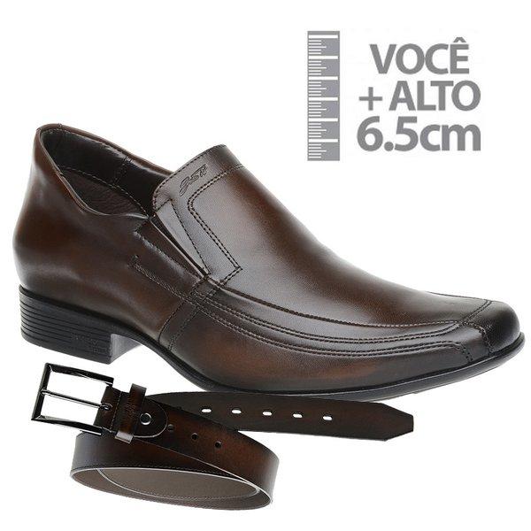 Sapato com Salto Interno Jota Pe Marrom Grow Air + Cinto de Couro