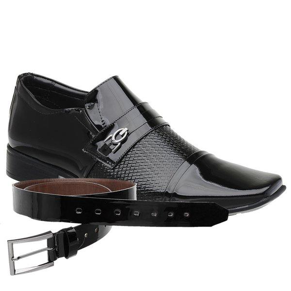Sapato Social Jota Pe Verniz Preto Air Fergus + Cinto Envernizado