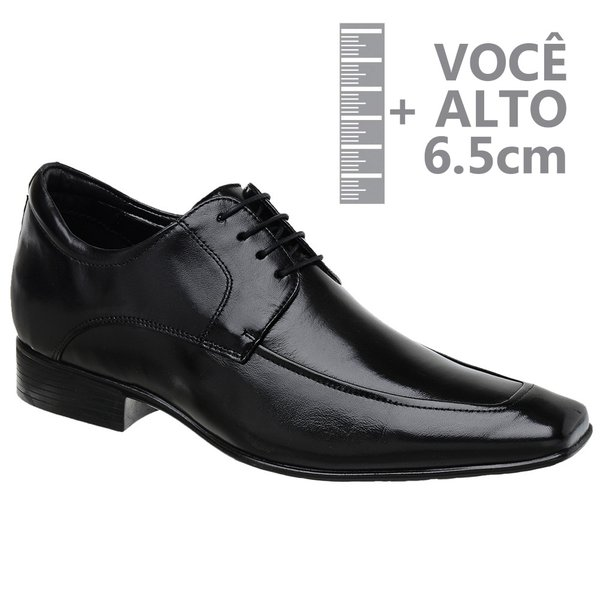 Sapato com Salto Interno Jota Pe Preto Grow Air Bridg