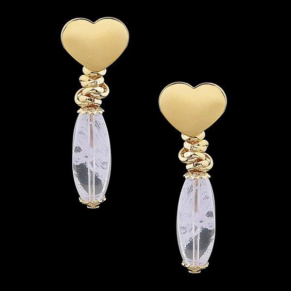 Brinco Folheado à Ouro 18k Fashion White Coração