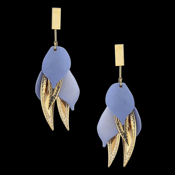 Brinco Folheado à Ouro 18k com Folhas e Resina Azul Royal