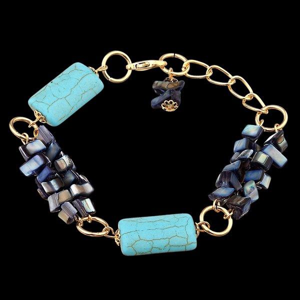 Pulseira com Cascalhos madrepérola e Pedra Natural Turquesa Azul
