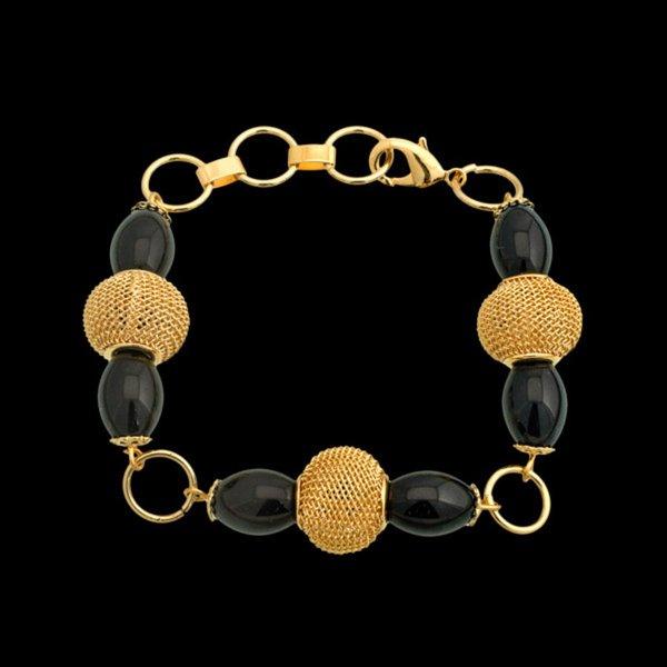 Pulseira folheada à ouro 18k com pedra natural ônix elegante