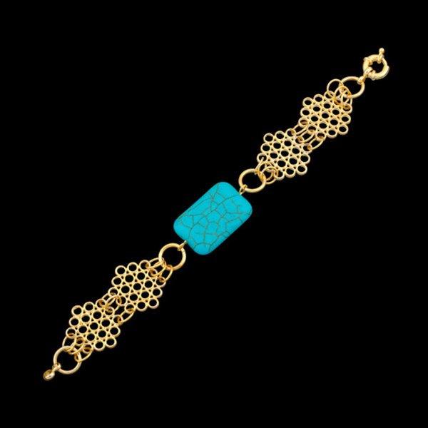 Pulseira folheada a ouro,com pedra natural turquesa.