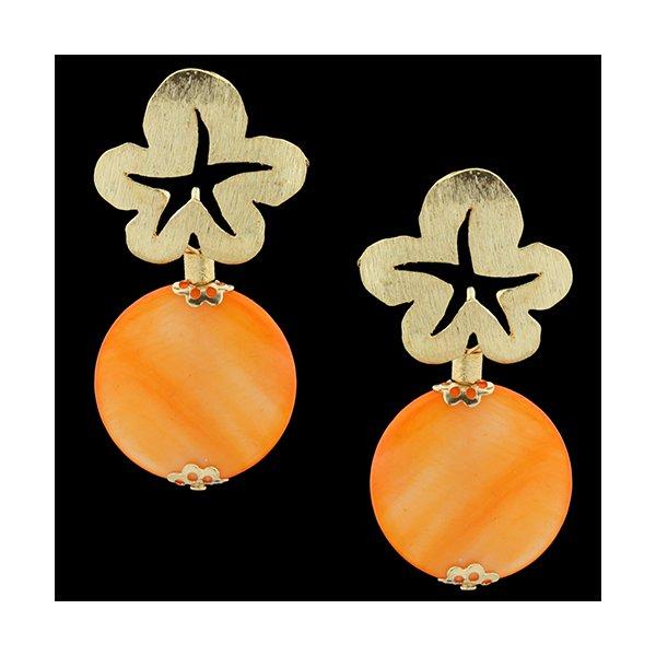 Brinco Folheado à Ouro 18k MadrePerola Orange