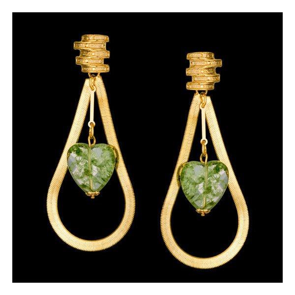 Brinco folheado à ouro 18k fashion green