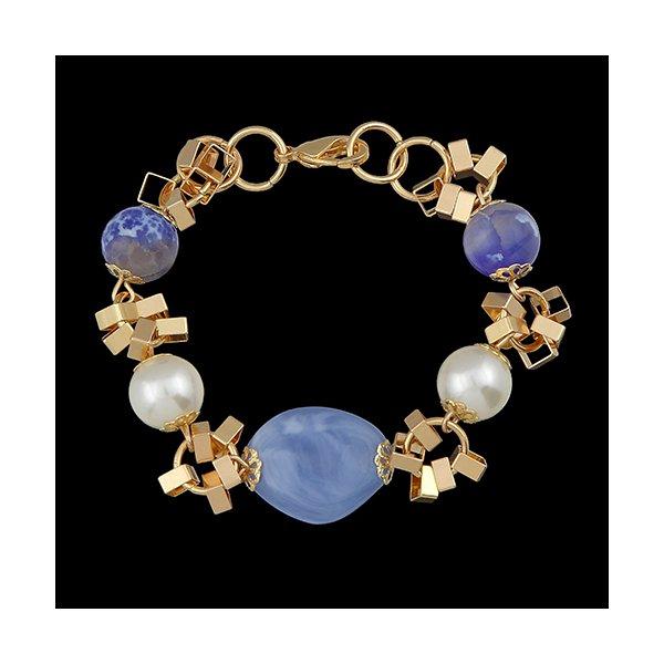 Pulseira Folheada à Ouro Jessica com Pedra Natural Lazuli