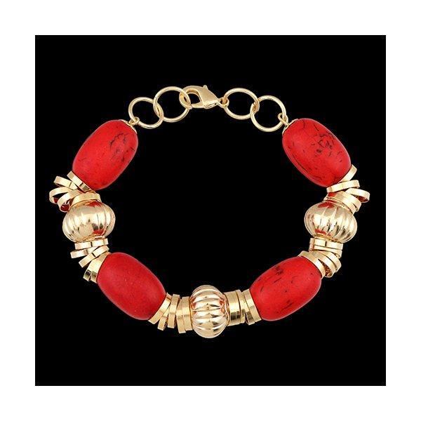 Pulseira de couro com Acessórios e Pedra Coral Vermelho