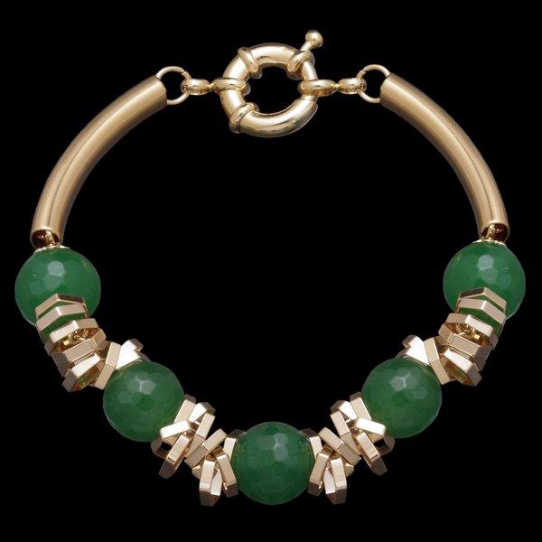 Pulseira folheada à ouro 18k com pedra natural ágata verde *Atenção Na Descrição*