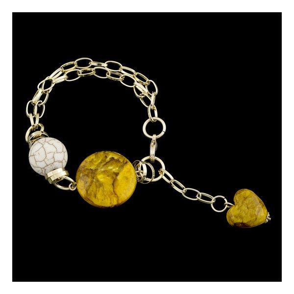 Pulseira folheada a ouro,com pedra natural turquesa branca