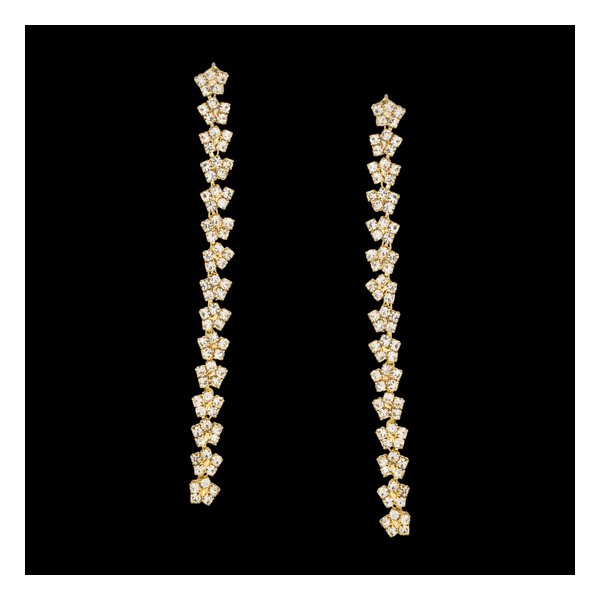 Brinco folheado à ouro 18k Strass Flores