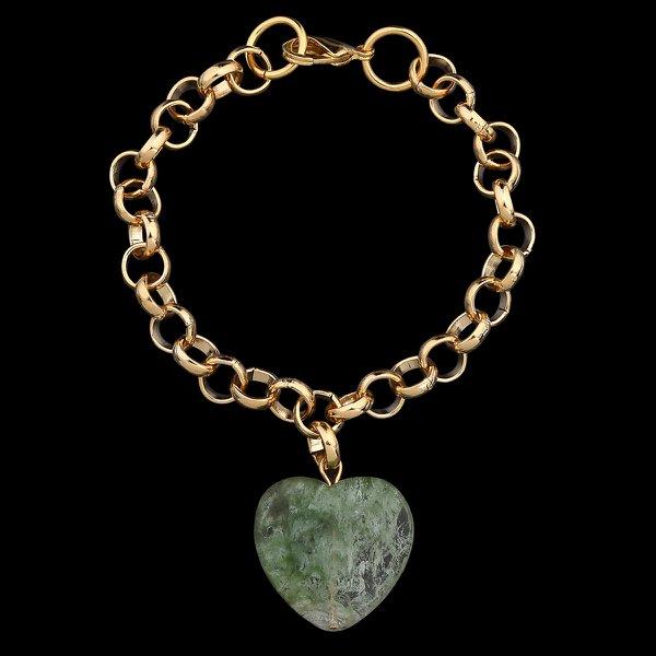 Pulseira Folheada à Ouro com Pedra Natural Fashion Green