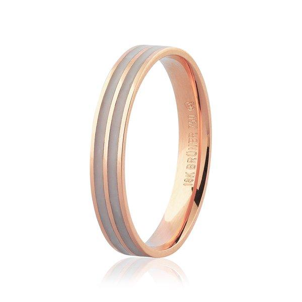 Aliança de Ouro Rosé 18K com Detalhe Pigmentado 3,5mm