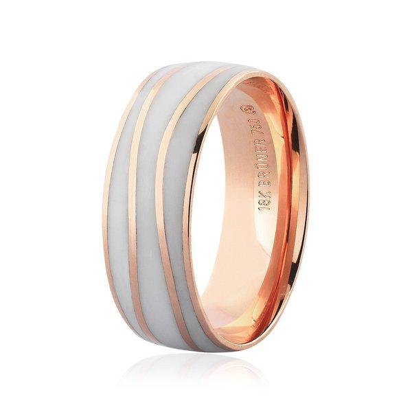 Aliança de Ouro Rosé 18K com Detalhe Pigmentado 7mm