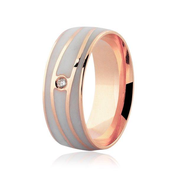 Aliança Ouro Rosé 18K Detalhe Pigmentado e Brilhante 7mm
