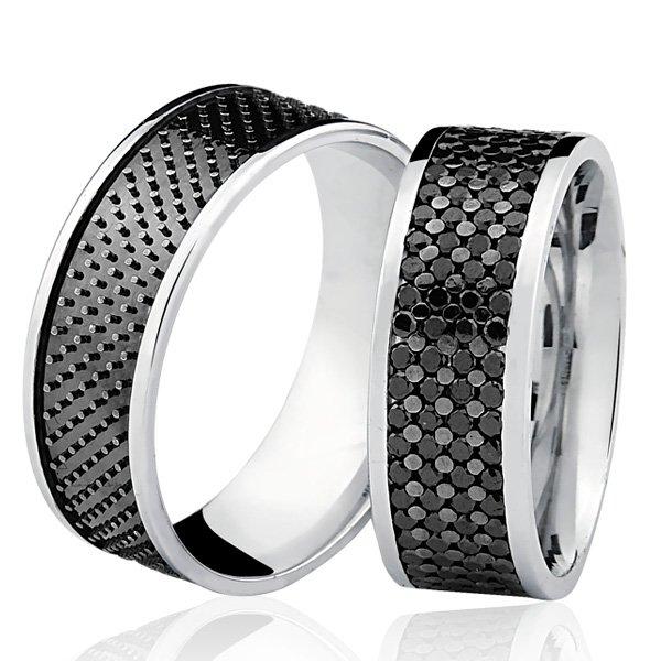 PAR de Aliança Bruner com Diamantes Negros Ouro Branco 18K