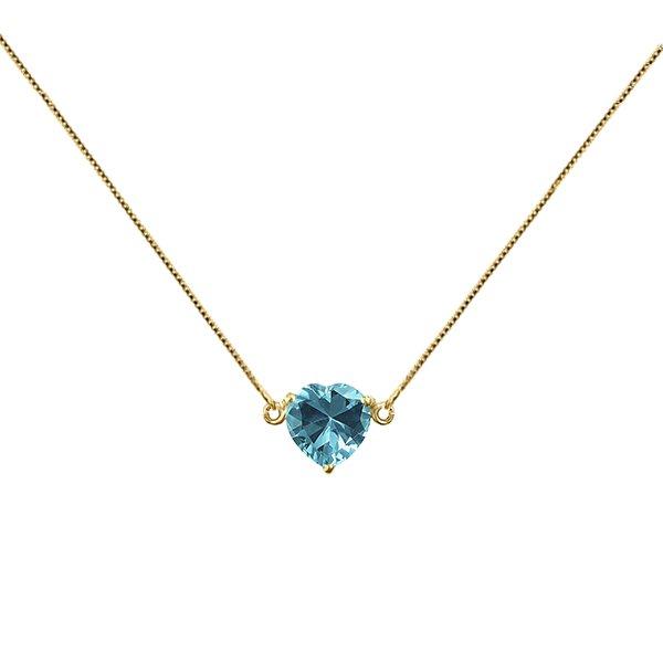 Gargantilha com Pingente de Coração Azul Topázio em Ouro 18K
