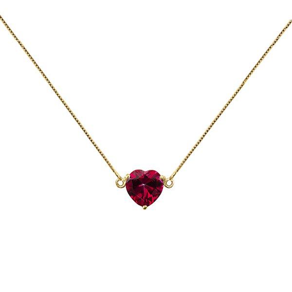 Gargantilha com Pingente de Coração Vermelho Topázio em Ouro 18K