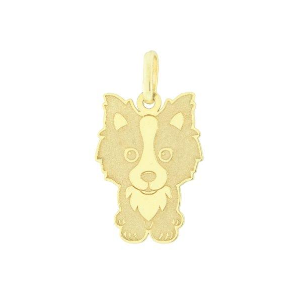 Pingente Cachorro Border Collie Francês em Ouro 18K