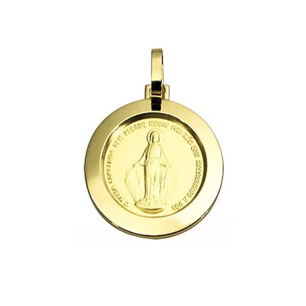Pingente Medalha Nossa Senhora das Graças em Ouro 18K