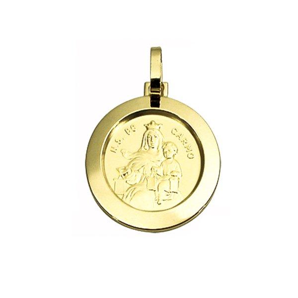 Pingente Medalha Nossa Senhora do Carmo em Ouro 18K