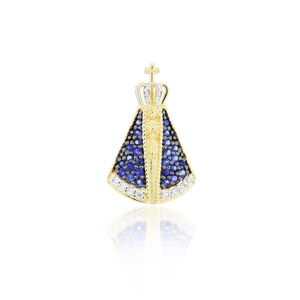 Pingente Nossa Senhora Aparecida com Diamantes e Safiras Ouro 18K