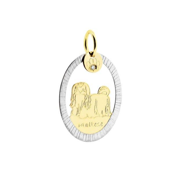 Pingente Cachorro Maltês Bicolor em Ouro 18K