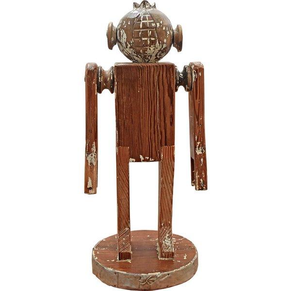 Escultura de Robô com Cabeça de Romã