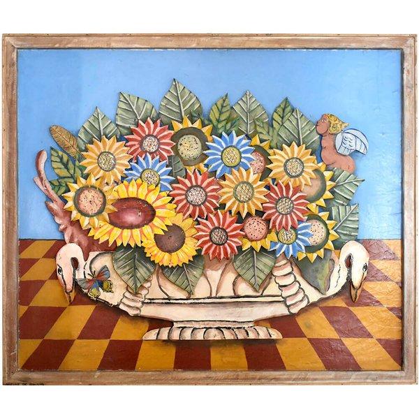 Quadro de Ânfora e Flores em Lata
