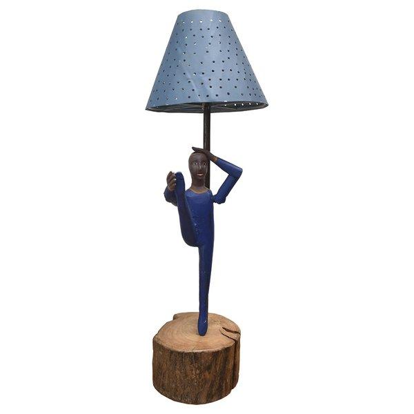 Abajur com Escultura de Bailarino Azul