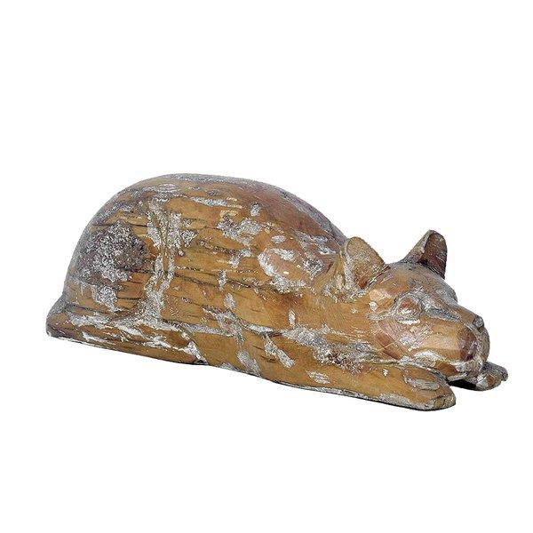 Escultura de Gato deitado em Madeira P