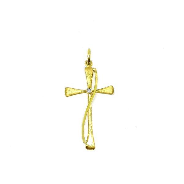 Pingente Cruz com Diamante em Ouro 18k