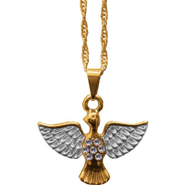 Gargantilha Folhada à Ouro Espírito Santo 7 Strass