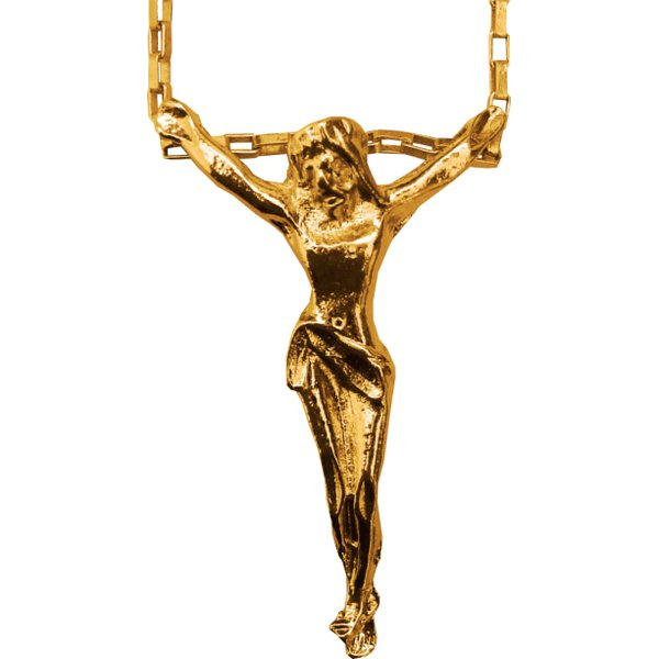 Gargantilha Folhada à Ouro com Cristo Sem Cruz