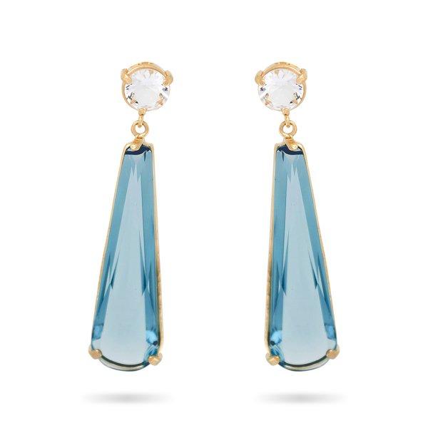 Brinco Gota Semijoia Banho de Ouro 18k Cristal Azul Safira Base Redonda Incolor